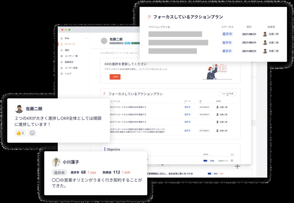 OKR管理ツール「Resily」のユーザーインターフェース